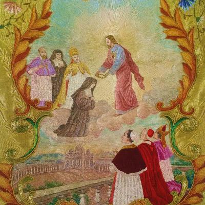 Canonisation de sainte Marguerite-Marie (détail d'une chasuble réalisée par une Sœur de la Visitation de Nantes à cette occasion)